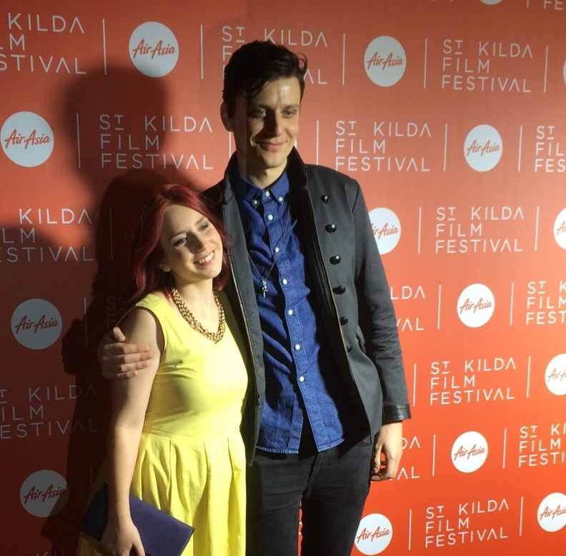 Taylor with director Logan on the red carpet at St Kilda Film Fest