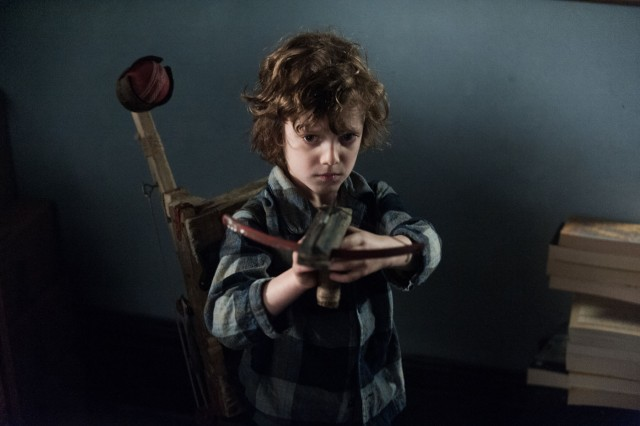 Noah Wiseman as haunted son Samuel in 'The Babadook'